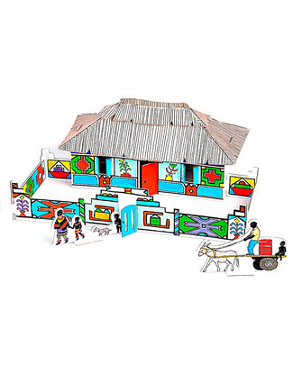 Mitik Le Case dell'Africa - Cartoncino 90% Riciclato (da montare senza bisogno di colla o forbici!) Carta e Cartone