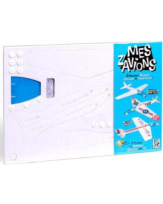 Mitik Mes Z'Avions - Aerei di Cartone da Costruire Cartoncino 90% Riciclato (senza bisogno di colla o forbici!) Carta e Cartone