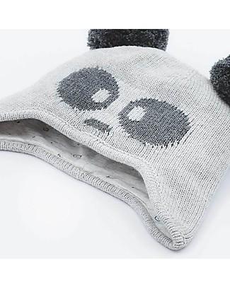 Mori Berretto Panda con Orecchie, Bianco e Nero - 100% cotone bio Cappelli