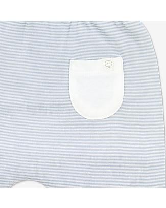 Mori Pantaloni Yoga Baby, Bianco & Azzurro - Bambù e cotone bio Pantaloni Lunghi