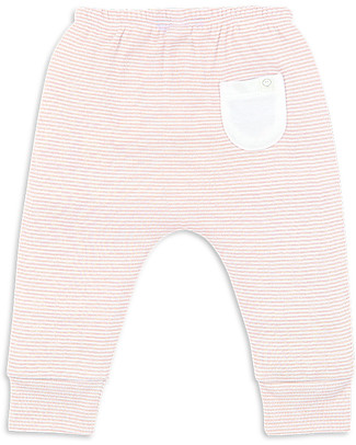 Mori Pantaloni Yoga Baby, Bianco & Cipria - Bambù e cotone bio Pantaloni Lunghi