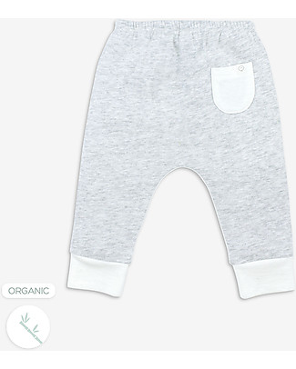 Mori Pantaloni Yoga Baby, Bianco & Grigio - Bambù e cotone bio Pantaloni Lunghi