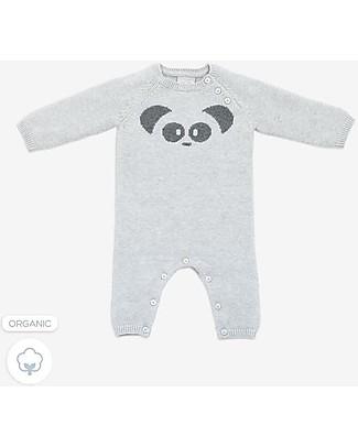 Mori  Tutina Lavorata a Maglia, Panda - 100% cotone bio Tutine Lunghe Senza Piedi