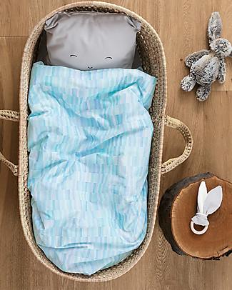 """Motomo Set baby copripiumino e cuscino """"Pastelli"""", Azzurro - 70x100 cm - Cotone bio Copripiumino e Federe"""