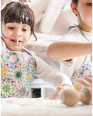 """Motomo Set Gioco Grembiulino e Cucchiaio """"Caleidoscopio"""", Azzurro - Cotone bio e legno naturale Cucine Giocattolo e Cibo Finto"""