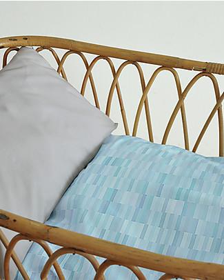 """Motomo Set junior copripiumino e cuscino """"Pastelli"""", Azzurro - 110x125 cm - Cotone bio Copripiumino e Federe"""