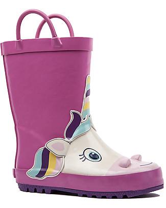 Mr.Tiggle Stivali da Pioggia in Gomma, Foderati in Cotone - Unicorno Rosa Stivali Pioggia