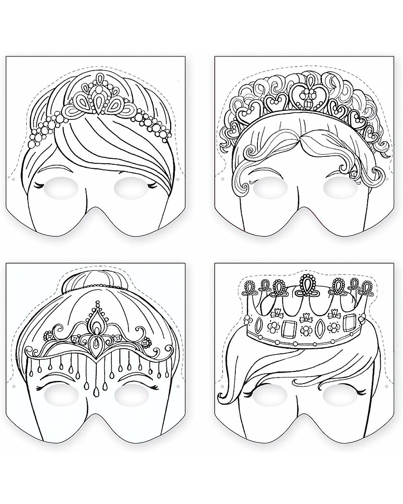 Mudpuppy Make A Mask Set Principessa 4 Maschere Da Colorare Bambina