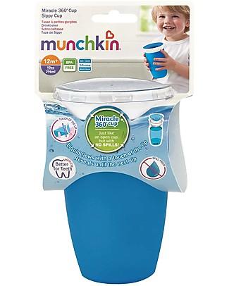 """Munchkin Bicchiere Antigoccia """"Impara a Bere""""  Miracle® 360°, 300 ml - Azzurro Tazze e Bicchieri"""