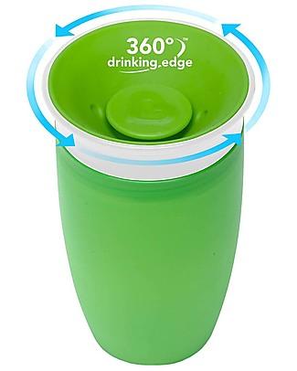 "Munchkin Bicchiere Antigoccia ""Impara a Bere""  Miracle® 360°, 300 ml - Verde Tazze e Bicchieri"