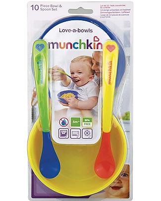 Munchkin Kit Svezzamento 10 Pezzi – 4 ciotole con coperchio + 2 cucchiai a punta morbida Set Pappa