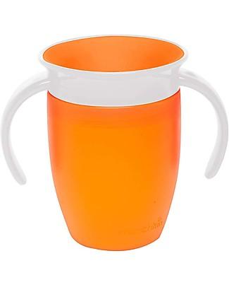"""Munchkin Tazza Antigoccia """"Impara a Bere""""  Miracle® 360°, 210 ml - Arancione con manici Tazze e Bicchieri"""