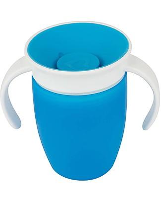"""Munchkin Tazza Antigoccia """"Impara a Bere""""  Miracle® 360°, 210 ml - Azzurro con manici Tazze e Bicchieri"""