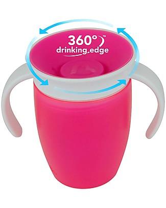 """Munchkin Tazza Antigoccia """"Impara a Bere""""  Miracle® 360°, 210 ml - Rosa con manici Tazze e Bicchieri"""