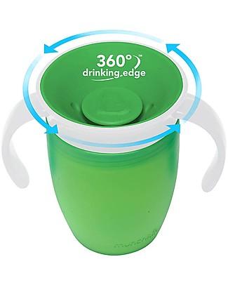 """Munchkin Tazza Antigoccia """"Impara a Bere""""  Miracle® 360°, 210 ml - Verde con manici Tazze e Bicchieri"""