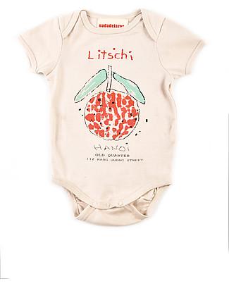 Nadadelazos Body Maniche Corte, Litchi - 100% jersey di cotone bio Body Manica Corta
