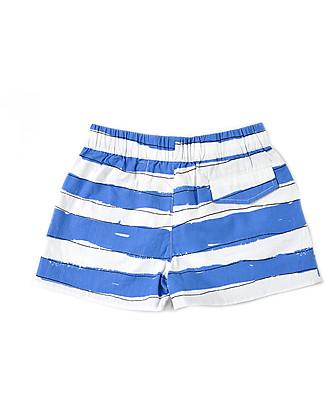 Nadadelazos Pantaloncini a Righe Bianco/Blu, 100% popeline di cotone bio Pantaloni Corti