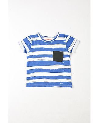 Nadadelazos T-Shirt Bimbi con Taschino, Righe Avorio/Blu - 100% jersey di cotone bio null