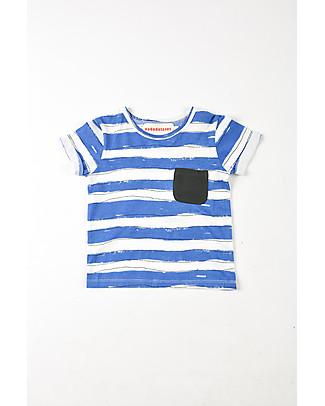 Nadadelazos T-Shirt Bimbi con Taschino, Righe Avorio/Blu - 100% jersey di cotone bio T-Shirt e Canotte