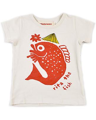 Nadadelazos T-Shirt Bimbi Rita The Fish, 100% jersey di cotone bio T-Shirt e Canotte