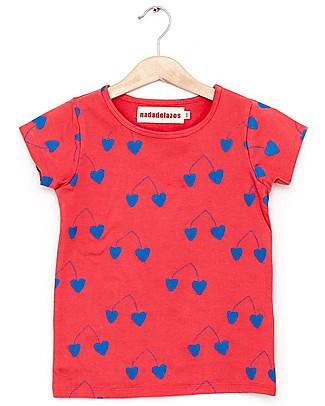 Nadadelazos T-shirt Ciliegie Blu - 100% jersey di cotone bio T-Shirt e Canotte