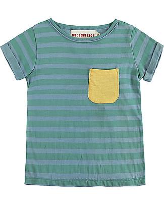 Nadadelazos T-shirt con Maniche Arrotolate, Righe Blu e Verdi - 100% cotone bio T-Shirt e Canotte