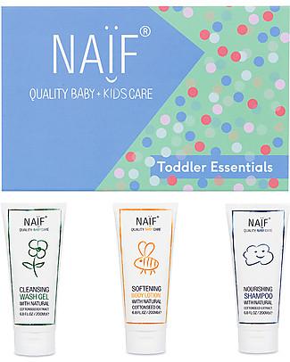 NAIF Baby Care Confezione Regalo Kids Essentials - Shampoo, Crema Corpo e Bagno Doccia Bagno Doccia Shampoo