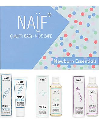 NAIF Baby Care Confezione Regalo Newborn Essentials - Crema Cambio, Olio Bagnetto e Olio Corpo Creme e Olii