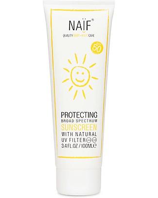 NAIF Baby Care Crema Solare SPF 50+ Filtri non Chimici, 100 ml – Anallergica - Protegge dai raggi UVA e UVB! Solari