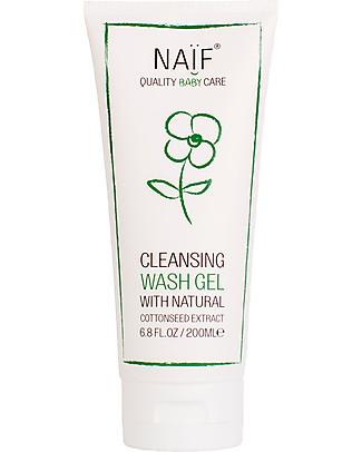 NAIF Baby Care Gel Baby Naturale da Bagno all'Olio di Cotone- Senza SLS/SLES, Parabeni, Oli Minerali o PEG Shampoo e Prodotti per il Bagnetto