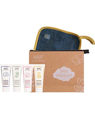 NAIF Baby Care La Mia Prima Baby Spa da Viaggio – 4 Prodotti Travel + Panno  in Cotone - Senza SLS/SLES, Parabeni, Oli Minerali o PEG Bagno Doccia Shampoo