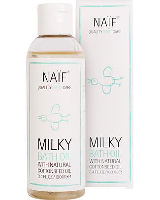 NAIF Baby Care Olio da Bagno Emolliente Naturale agli Oli di Cotone e Camomilla - Senza SLS/SLES, Parabeni, Oli Minerali o PEG Creme e Olii