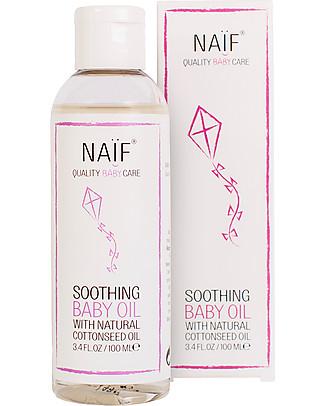 NAIF Baby Care Olio da Massaggio Lenitivo Baby  – Senza SLS/SLES, Parabeni, Oli Minerali o PEG Creme e Olii