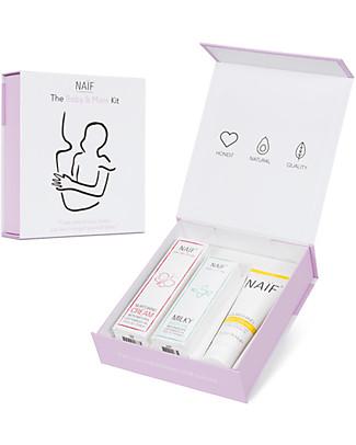 NAIF Baby Care The Baby & Mum Kit: Olio da Bagno, Crema per il Cambio e Crema Mani Creme e Olii