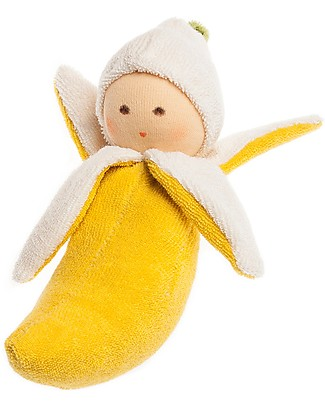Nanchen Natur Bambola Banana Gialla con Sonaglio - per Bèbè Bambole