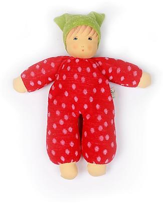 Nanchen Natur Bambola di Pezza con Vestito Rosso a Pois, 30 cm - Sicura e Divertente! Bambole