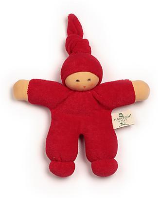 Nanchen Natur Bambola di Pezza Rossa Nodino, 17 cm - Cotone bio e Lana Vergine Bambole