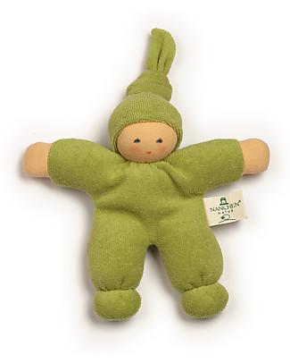 Nanchen Natur Bambola di Pezza Verde Nodino, 17 cm - Cotone bio e Lana Vergine Bambole