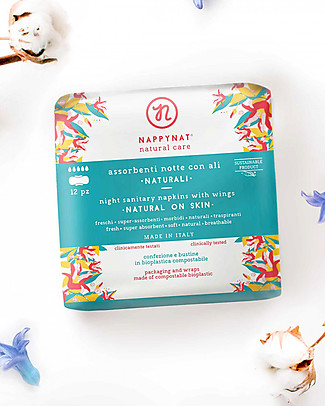 Nappynat Night Sanitary Napkins with Wings, 12 pieces - Cotton on the skin Sanitary Napkins and Pantyliners