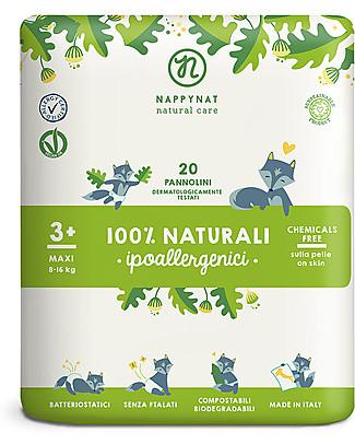 Nappynat Pannolini Monouso Biodegradabili Fantasia Dalmata, Taglia Maxi 3+, 20 pezzi - 8-16 Kg Pannolini Biodegradabili