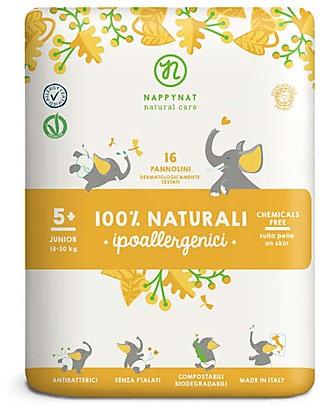 Nappynat Pannolini Monouso Biodegradabili, Taglia Junior 5+, 16 pezzi – 18/30 Kg Pannolini Biodegradabili