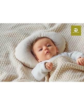 Nati Naturali Cuscino Testa Tonda Anatomico per Bebè fino a 4 mesi - Pula di Farro + Fodera in Cotone Bio  Cuscini