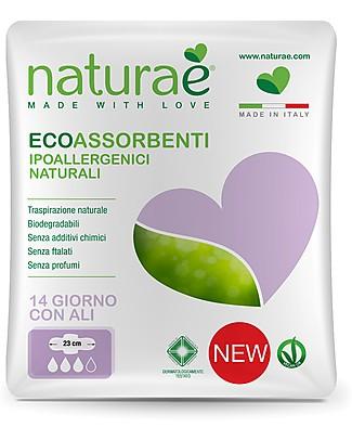 Naturaè EcoAssorbenti Giorno con Ali, Biodegradabile - Confezione da 14 pezzi Assorbenti e Salvaslip