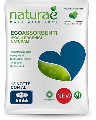 Naturaè Ecoassorbenti Notte con Ali, Biodegradabile - Confezione da 12 pezzi Assorbenti e Salvaslip