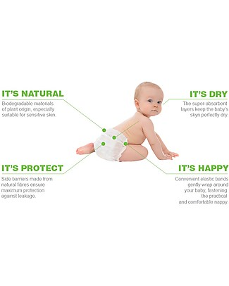 Naturaè Ecopannolini compostabili, Taglia 5 Junior 11-25 Kg - Confezione da 18 pezzi Pannolini Biodegradabili