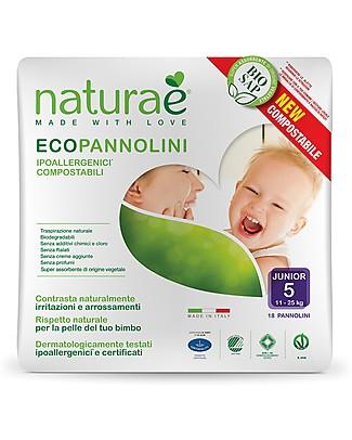Naturaè Ecopannolini compostabili, Taglia Junior 15-25 Kg - Confezione da 18 pezzi Pannolini Biodegradabili