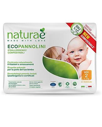 Naturaè Ecopannolini compostabili, Taglia Mini 3-6 Kg - Confezione da 24 pezzi Pannolini Biodegradabili