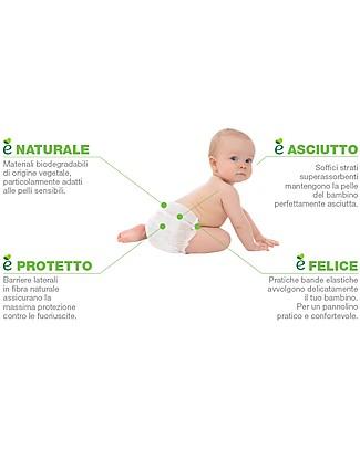 Naturaè Ecopannolini compostabili, Taglia Newborn 2-5 Kg - Confezione da 26 pezzi Pannolini Biodegradabili