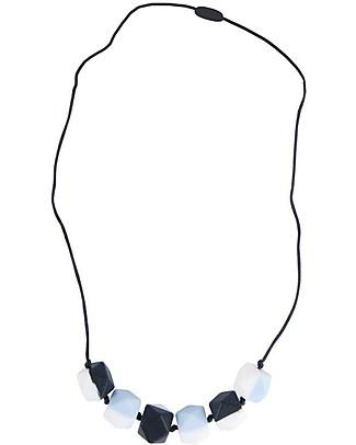 Nibbling Collana da Allattamento Half Moon - Blu/Nero - 100% Silicone Alimentare e Chiusura a Scomparsa! Collane Allattamento