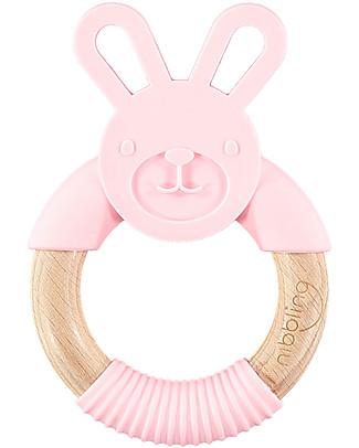 Nibbling Massaggiagengive ad Anello Bo il Coniglio - Rosa - Legno Naturale e Silicone Alimentare Massaggiagengive